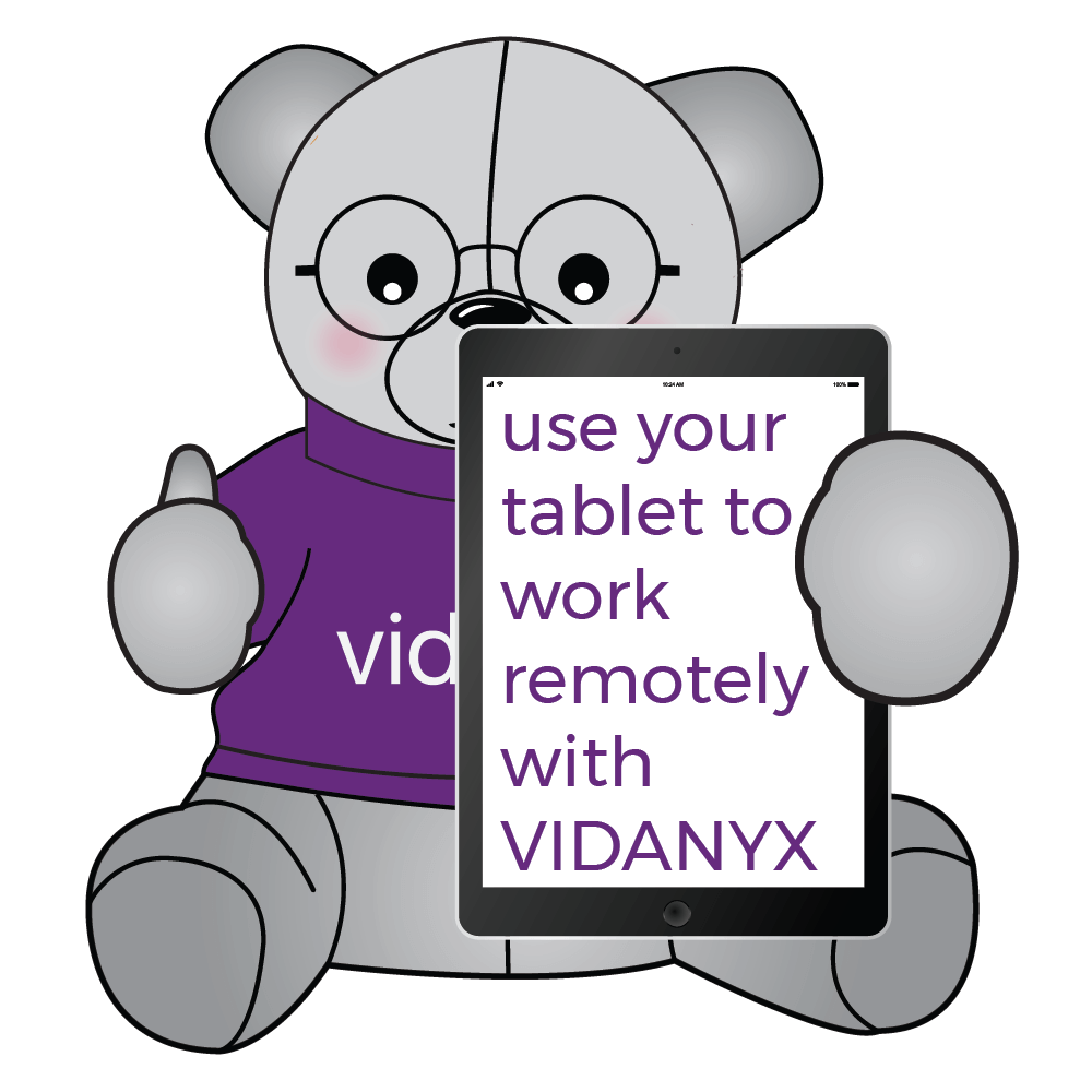 Use your Tablet to work remotely with Vidanyx @1000